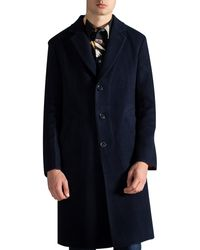 Paul Smith Double Faced Wool-blend Overcoat Navy - Blue