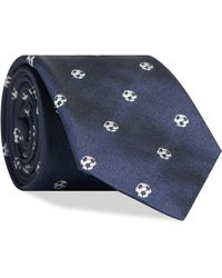 Paul Smith Embroidered Football Motif Tie Navy - Blue