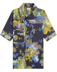 Dries Van Noten 'chester' Floral Utility Shirt Navy - Blue