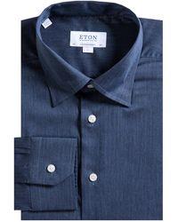 Eton of Sweden Contemporary Fit Herringbone Flannel Shirt Navy - Blue