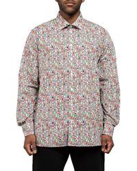 Eton of Sweden Contemporary Fit Ice Cream Stripe Print Shirt White/black - Multicolour