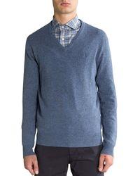 Polo Ralph Lauren Luxury Merino Wool V-neck Knit Supply Blue