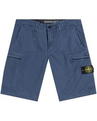 Stone Island Cargo Shorts Zip Pocket Blue Marine