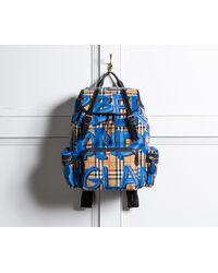 Burberry - Graffiti Logo Print Vintage Check Backpack - Lyst