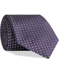 Canali Polka Dot Silk Tie Purple