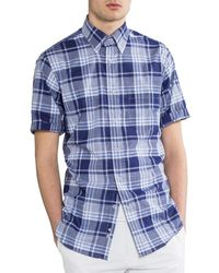 Paul & Shark 'blue Chambray' Short Sleeved Checked Shirt Blue