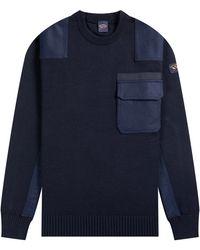 Paul & Shark Multi Pocket Crew Knit Navy - Blue