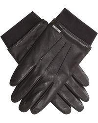 BOSS 'herbo' Leather Gloves With Elasticated Wristband Brown