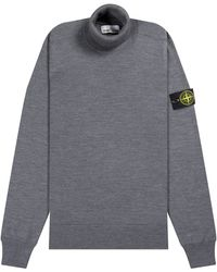 Stone Island Roll Neck Wool Jumper Grey