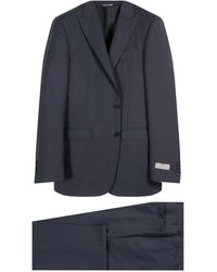Canali Pure Wool Peaked Lapel Suit Navy - Blue