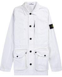 Stone Island Garment Dyed Safari Jacket In Pure White