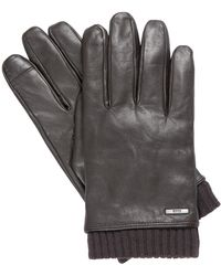 BOSS by Hugo Boss Hewen-tt Leather Ribbed Cuff Gloves Brown