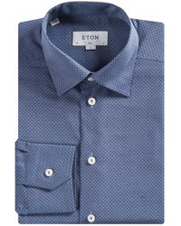 Eton Slim Fit Button-under Micro Diamond Shirt Steel Blue
