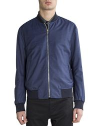 Paul Smith Micro Gingham Check Wool Bomber Jacket Navy/black - Blue
