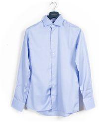 Eton of Sweden Ss19 Fine Herringbone Stripe Shirt Blue