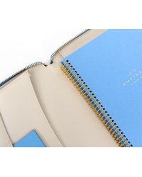 Smythson 'a5' Zip Leather Folder Blue