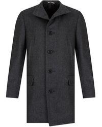 Canali Water Resistant Wool Coat Grey