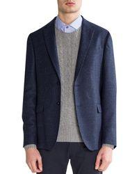 BOSS by Hugo Boss 'nobis4' Textured Wool/silk Tailored Jacket Blue