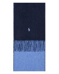 Ralph Lauren 'reversible' Wool Scarf Navy/blue