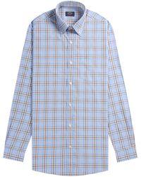 Paul & Shark Soft Flannel Bold Check Shirt Sky/brown - Blue