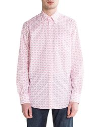 Paul & Shark Fish Print Shirt White/pink