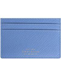 Smythson 'flat' Leather Card Holder Blue