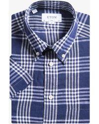 Eton of Sweden - Slim Fit Checked Linen Shirt Navy - Lyst