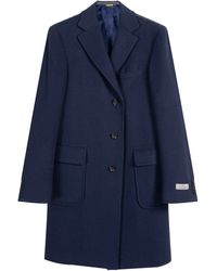 Canali Pure Cashmere Waffle Effect Overcoat Navy - Blue