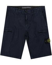 Stone Island 'zip Pocket' Cargo Shorts Navy - Blue