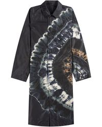 Dries Van Noten Reversible Tie-dyed Shell Trench Navy - Blue