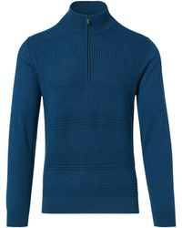 Porsche Design Mock Neck Zip Sweater - Blau