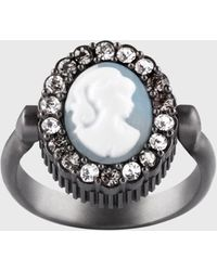 Ports 1961 Antique Victorian Brooch Crystal Ring In Blue