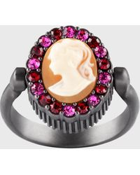 Ports 1961 Antique Victorian Brooch Crystal Ring In Peach - Metallic