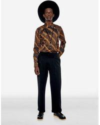 PortsV Retro Stripe And Check Satin Shirt - Multicolor