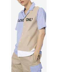 PortsV Multi-panel Love Only Short Sleeve Button Down Shirt - Blue