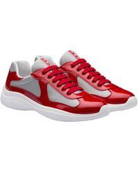 Prada Men's Shoes Leather Sneakers Sneakers - Red