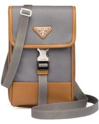 Prada - Nylon And Saffiano Leather Smartphone Case - Lyst