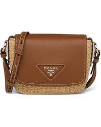 Prada Raffia & Leather Crossbody Bag - Brown