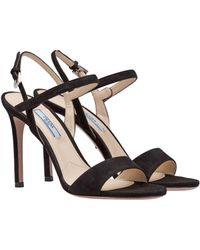 611df3dfccecd Lyst - Prada Jewel-embroidered Satin Sandal in Natural