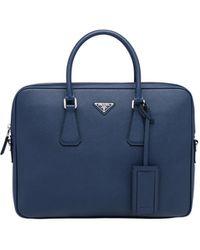 Prada Leather Briefcase - Blue