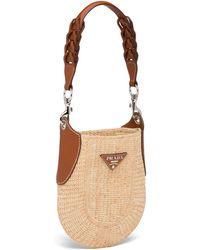 Prada Raffia And Leather Bag - Natural
