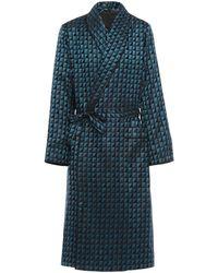 Prada Checkerboard Print Silk Jacquard Robe - Blue