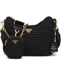 Prada Re-edition 2005 Raffia Bag - Black