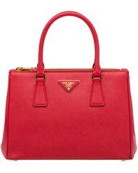 Prada Small Saffiano Leather Galleria Bag - Red