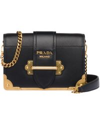 Prada Leather Cahier Bag - Black