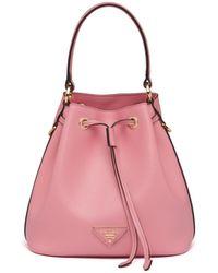 Prada - Saffiano Leather Bucket Bag - Lyst