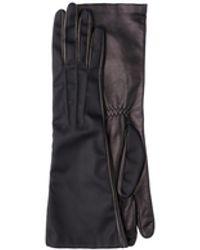 Prada Long Nylon And Leather Gloves - Black
