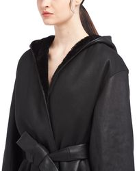 Prada Reversible Shearling Caban Jacket - Black