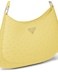 Prada Cleo Ostrich Leather Shoulder Bag - Yellow