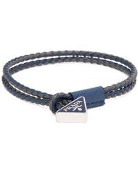 Prada Braided Nappa Leather Bracelet - Blue